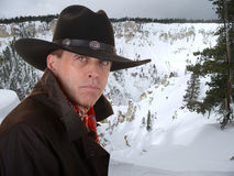 Cowboy in winter Royalty Free Stock Photos