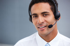 Handsome customer service agent at work Royalty Free Stock Photos