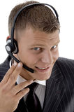 Handsome customer service busy on phone call Stock Photos