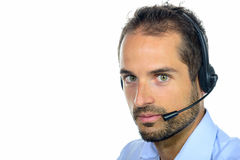 Handsome customer service operator wearing a headset Royalty Free Stock Image