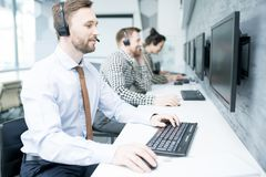 Handsome Customer Support Operator stock photo