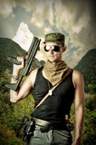 Handsome dangerous military man Stock Photography