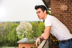 Handsome dark haired young man looking out on Royalty Free Stock Photos