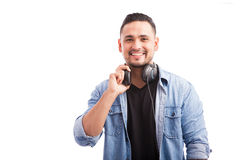 Handsome deejay with headphones Royalty Free Stock Photo