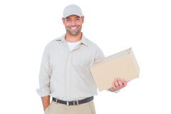 Handsome delivery man with cardboard box on white background Stock Image