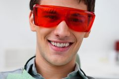 Handsome dentist wearing protective eyewear Royalty Free Stock Photos