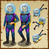 Handsome diver man, cartoon character animation Stock Photography