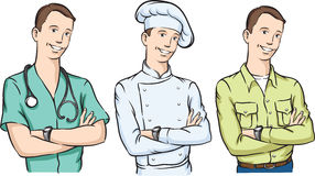 Handsome doctor chef and farmer with arms crossed smiling Stock Image