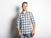 Handsome dude in grey, portrait. A great handsome dude in grey, portrait Royalty Free Stock Photography