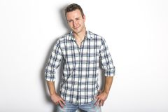 Handsome dude in grey, portrait. A great handsome dude in grey, portrait Royalty Free Stock Images