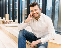 Handsome dusinessman, work,contact, seif-education in office Stock Photography