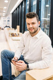 Handsome dusinessman, work,contact, seif-education in office Royalty Free Stock Photos