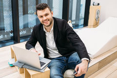 Handsome dusinessman, work,contact, seif-education in office Royalty Free Stock Photography