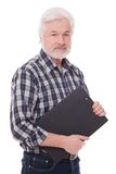 Handsome elderly man with folder Stock Image