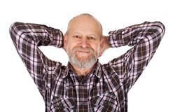 Handsome elderly man. With checkered shirt smiling to the camera on isolated background stock photos
