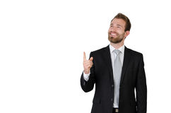 Handsome elegant businessman in suit copy space Royalty Free Stock Photos