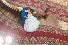 Handsome elegant groom kissing cheek of beautiful smiling bride on old wooden stairs at the rich interior  background Stock Images