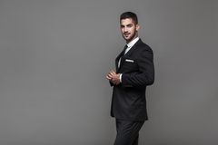 Handsome elegant man on grey background Royalty Free Stock Photos