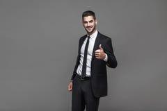Handsome elegant man on grey background royalty free stock photos