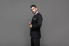 Handsome elegant man on grey background Stock Photography