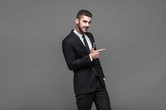 Handsome elegant man on grey background Royalty Free Stock Photo