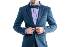 Handsome elegant young fashion man in coat tuxedo Royalty Free Stock Photos