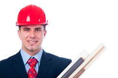 Handsome engineer with blueprints Stock Image
