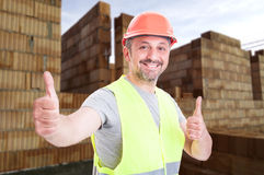 Handsome engineer with double thumb up sign Royalty Free Stock Photo