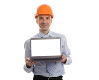 Handsome engineer presenting something on his laptop Royalty Free Stock Photo