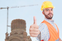Handsome engineer showing thumb up in closeup Royalty Free Stock Photography