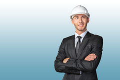 handsome engineer in white hardhat Royalty Free Stock Photography