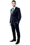 Handsome entrepreneur posing over white Stock Photos