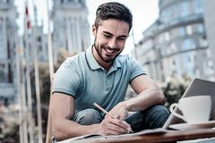 Handsome entrepreneur working outdoors Stock Images
