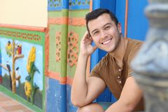 Handsome ethnic man smiling with copy space.  royalty free stock photography