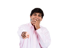 Handsome excited man happy smile, pointing finger towards you to the camera gesture Royalty Free Stock Image