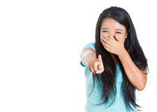 Handsome excited woman happy smile point finger towards you to the camera gesture Stock Photography