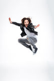 Handsome excited young man jumping and screaming Royalty Free Stock Photo