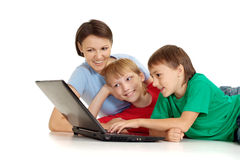 Handsome family in bright T-shirts Stock Image