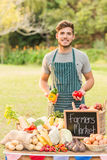 Handsome farmer holding peppers Stock Images
