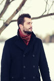 Handsome fashion bearded man with stylish hairstyle Stock Images