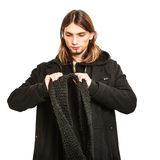 Handsome fashion man portrait wearing black coat. Royalty Free Stock Photography