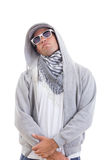 Handsome fashion man in track suit standing cool with hood and s Stock Photos