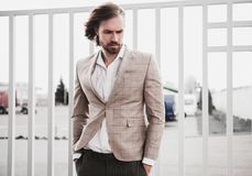 Handsome fashion model man dressed in elegant suit royalty free stock image