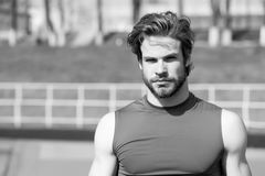 Handsome fashionable man has stylish hair in sportswear, sport f. Healthy lifestyle and sport fashion. handsome fashionable man model or bearded sexy guy with Royalty Free Stock Photos