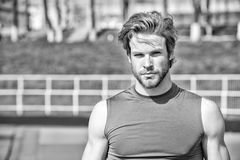 Handsome fashionable man has stylish hair in sportswear, sport fashion Royalty Free Stock Images
