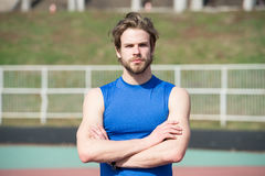 Handsome fashionable man has stylish hair in sportswear, sport fashion Stock Images