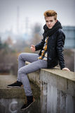 Handsome fashionable man outdoor Stock Image