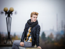 Handsome fashionable man outdoor Royalty Free Stock Photography