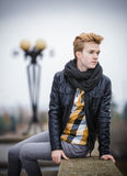 Handsome fashionable man outdoor Royalty Free Stock Image