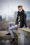 Handsome fashionable man outdoor Royalty Free Stock Photos